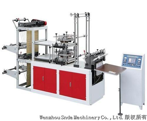 Double lines plastic glove making machine